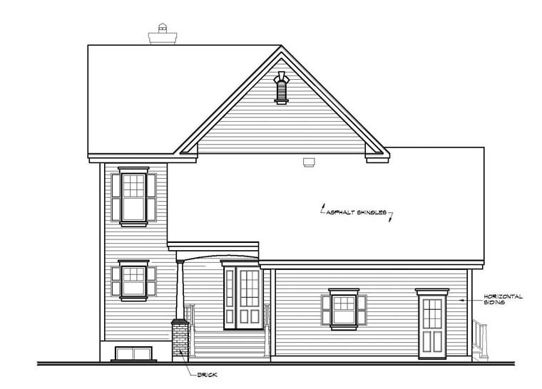 Country, Southern House Plan 65423 with 4 Beds, 4 Baths, 2 Car Garage Rear Elevation