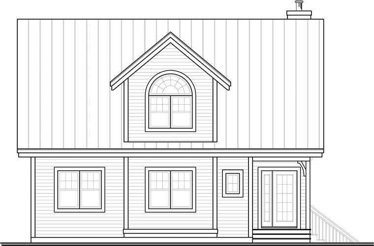 Country House Plan 65445 with 3 Beds, 2 Baths Rear Elevation