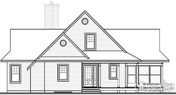 Coastal, Country, Traditional House Plan 65494 with 3 Beds, 2 Baths Rear Elevation