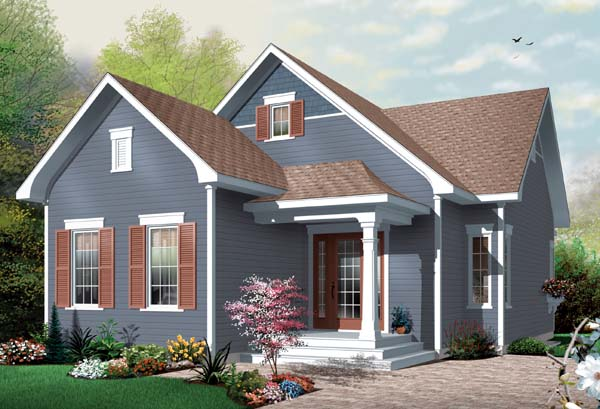 Bungalow House Plan 65536 with 2 Beds, 1 Baths Elevation