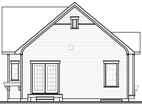 Bungalow House Plan 65536 with 2 Beds, 1 Baths Rear Elevation