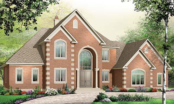 European House Plan 65558 with 5 Beds, 4 Baths, 3 Car Garage Elevation