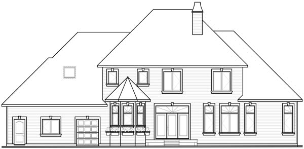 European House Plan 65558 with 5 Beds, 4 Baths, 3 Car Garage Rear Elevation