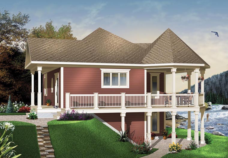 Cottage, Country, Victorian House Plan 65566 with 1 Beds, 1 Baths Elevation