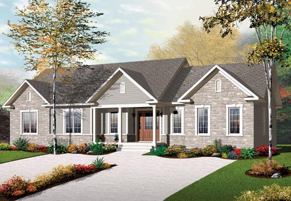 Multi-Family Plan 65574 with 3 Beds, 2 Baths Front Elevation