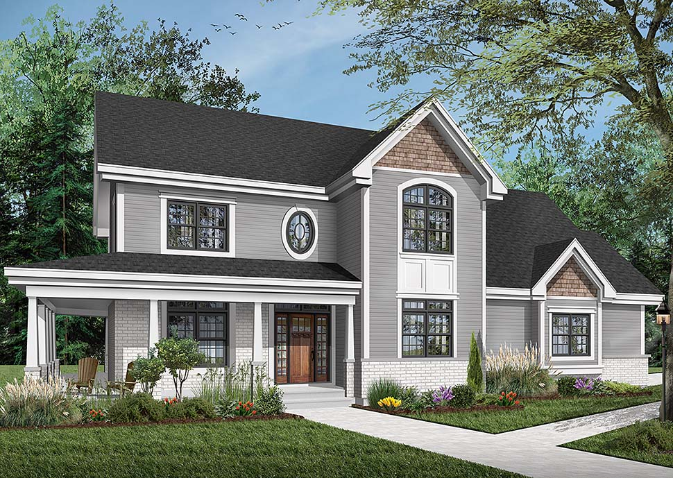 Country, Farmhouse House Plan 65575 with 4 Beds, 4 Baths, 2 Car Garage Elevation