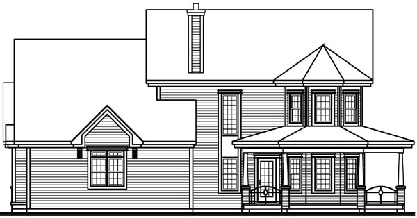 Country, Farmhouse House Plan 65575 with 4 Beds, 4 Baths, 2 Car Garage Rear Elevation