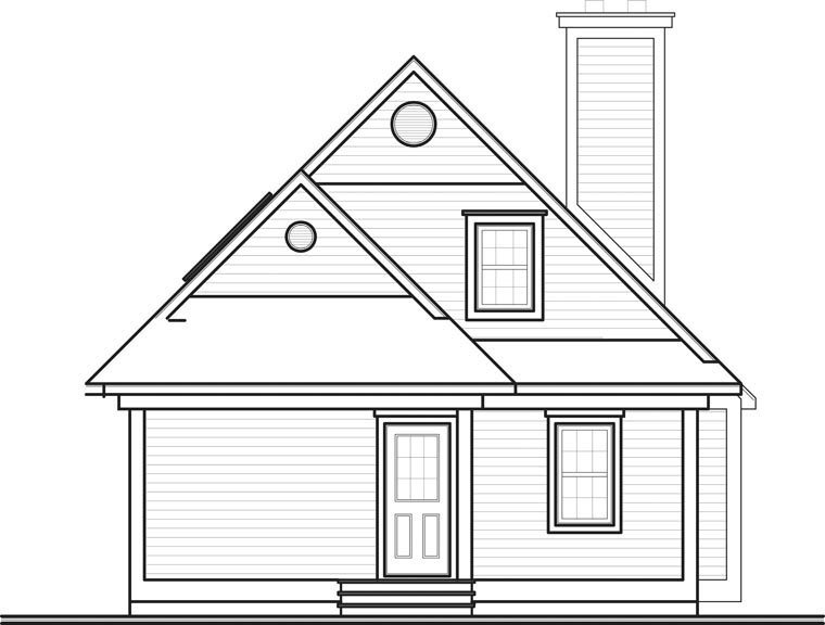 Country House Plan 65576 with 3 Beds, 2 Baths Rear Elevation