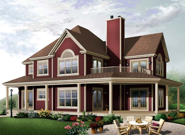 Country, Farmhouse, Traditional House Plan 65581 with 4 Beds, 3 Baths, 2 Car Garage Elevation