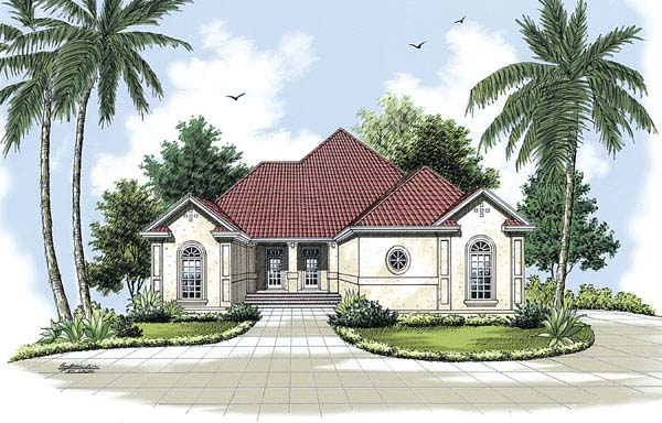 Florida, Mediterranean House Plan 65602 with 3 Beds, 2 Baths, 2 Car Garage Elevation