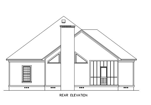 Florida, Mediterranean House Plan 65602 with 3 Beds, 2 Baths, 2 Car Garage Rear Elevation