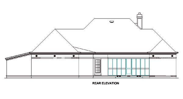 Colonial House Plan 65605 with 3 Beds, 3 Baths, 2 Car Garage Rear Elevation