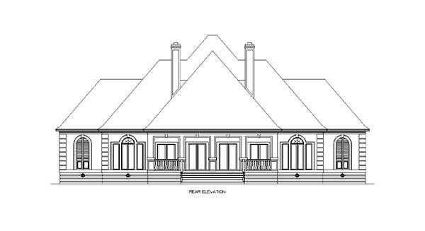 European House Plan 65609 with 4 Beds, 6 Baths, 3 Car Garage Rear Elevation