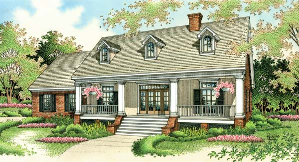 Colonial, Country, Southern House Plan 65622 with 3 Beds, 2 Baths, 2 Car Garage Front Elevation