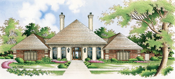 European House Plan 65627 with 3 Beds, 2 Baths, 3 Car Garage Elevation