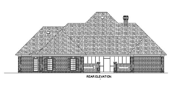 European, One-Story House Plan 65632 with 4 Beds, 4 Baths, 3 Car Garage Rear Elevation