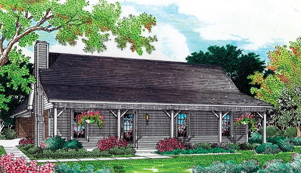 Cabin, Ranch House Plan 65638 with 3 Beds, 2 Baths, 2 Car Garage Elevation