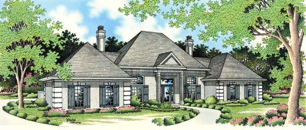 Mediterranean, One-Story House Plan 65674 with 3 Beds, 2 Baths, 2 Car Garage Elevation