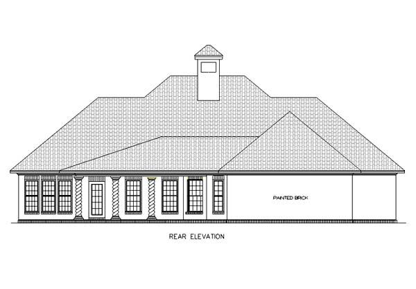 European, Mediterranean, One-Story House Plan 65678 with 4 Beds, 2 Baths, 2 Car Garage Rear Elevation