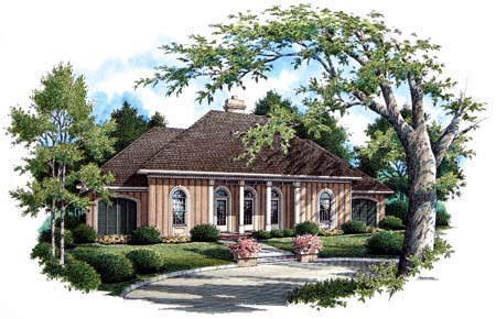 Country, One-Story, Traditional House Plan 65697 with 3 Beds, 2 Baths, 2 Car Garage Front Elevation