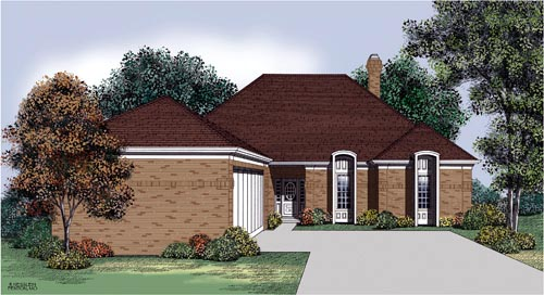 European, One-Story House Plan 65700 with 3 Beds, 2 Baths, 2 Car Garage Elevation
