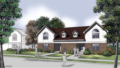 Multi-Family Plan 65703 with 4 Beds, 4 Baths, 4 Car Garage Elevation