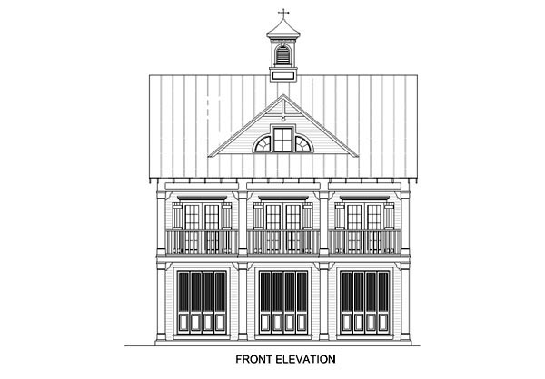 Coastal Plan with 1110 Sq. Ft., 2 Bedrooms, 2 Bathrooms, 3 Car Garage Picture 2