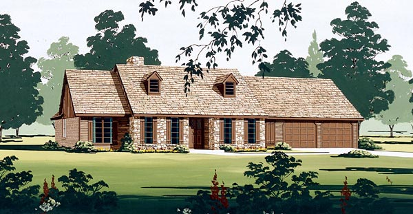 One-Story, Ranch House Plan 65769 with 4 Beds, 3 Baths, 2 Car Garage Elevation