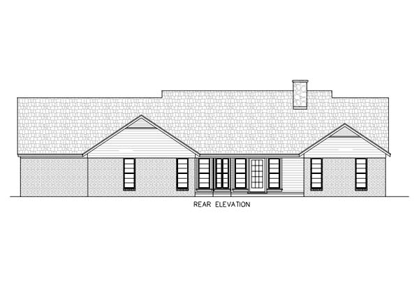 One-Story, Ranch House Plan 65769 with 4 Beds, 3 Baths, 2 Car Garage Rear Elevation
