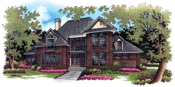 European House Plan 65798 with 4 Beds, 4 Baths, 2 Car Garage Elevation