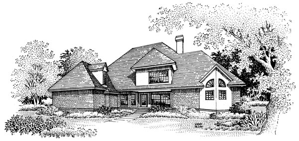 European House Plan 65798 with 4 Beds, 4 Baths, 2 Car Garage Rear Elevation