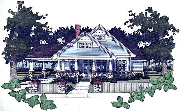 Bungalow Plan with 1657 Sq. Ft., 3 Bedrooms, 2 Bathrooms, 2 Car Garage Picture 10