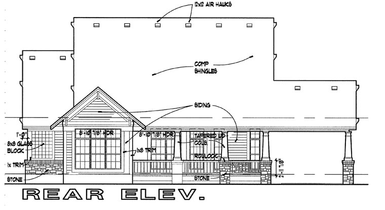 Bungalow Plan with 1657 Sq. Ft., 3 Bedrooms, 2 Bathrooms, 2 Car Garage Rear Elevation