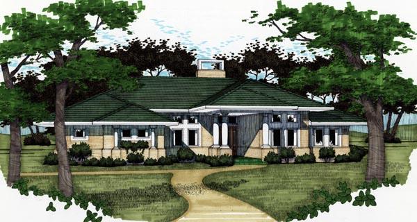 Florida, Prairie, Southwest House Plan 65810 with 3 Beds, 2 Baths, 2 Car Garage Elevation