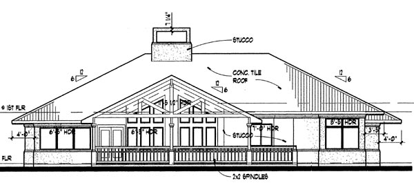 Florida, Prairie, Southwest House Plan 65810 with 3 Beds, 2 Baths, 2 Car Garage Rear Elevation