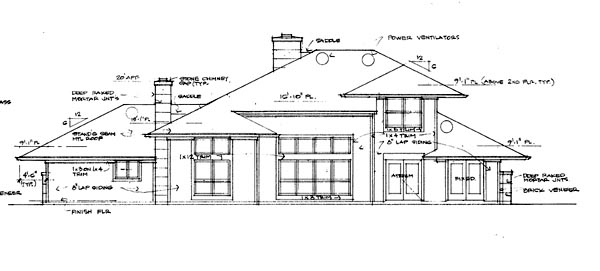 Contemporary, Prairie, Southwest House Plan 65844 with 3 Beds, 2.5 Baths, 2 Car Garage Rear Elevation