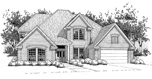 Traditional House Plan 65847 with 4 Beds, 3.5 Baths, 2 Car Garage Front Elevation