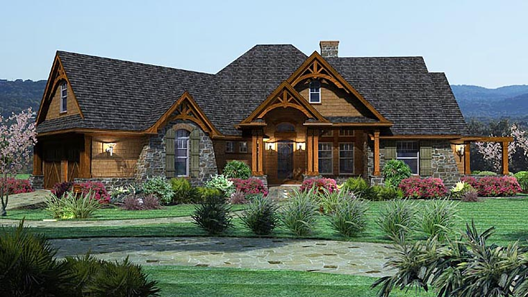 Cottage, Craftsman, Tuscan House Plan 65862 with 3 Beds, 3 Baths, 2 Car Garage Front Elevation