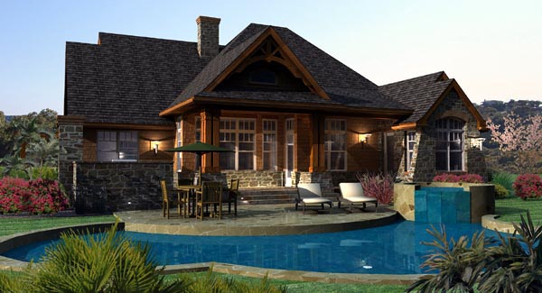Cottage, Craftsman, Tuscan House Plan 65862 with 3 Beds, 3 Baths, 2 Car Garage Rear Elevation
