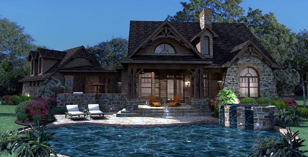 Cottage, Craftsman, Tuscan House Plan 65866 with 3 Beds, 3 Baths, 2 Car Garage Rear Elevation