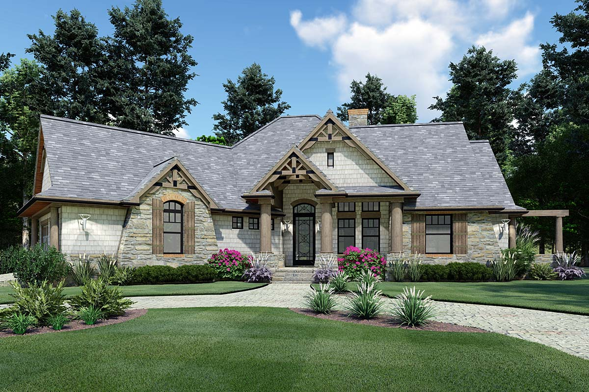 Cottage, Craftsman, Ranch, Tuscan House Plan 65867 with 3 Beds, 2 Baths, 2 Car Garage Elevation