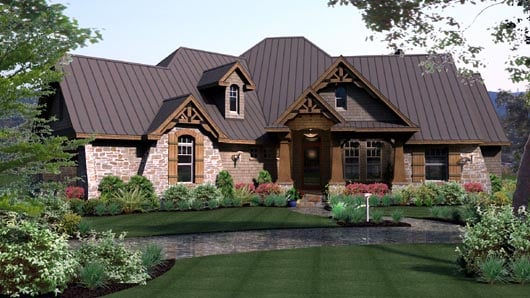 Cottage, Craftsman, Tuscan House Plan 65869 with 3 Beds, 3 Baths, 3 Car Garage Elevation