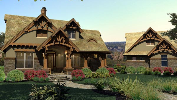 Bungalow, Cottage, Craftsman, Tuscan House Plan 65870 with 3 Beds, 2 Baths, 2 Car Garage Picture 2
