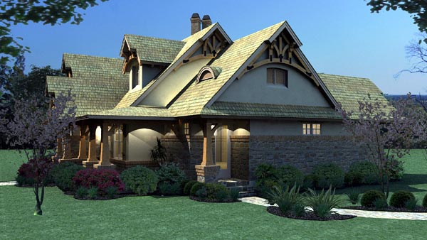 Bungalow, Cottage, Craftsman, Tuscan House Plan 65870 with 3 Beds, 2 Baths, 2 Car Garage Picture 6