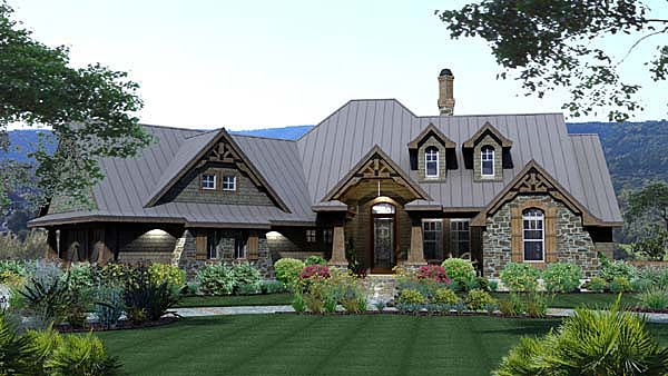Craftsman, Tuscan House Plan 65871 with 3 Beds, 3 Baths, 2 Car Garage Front Elevation