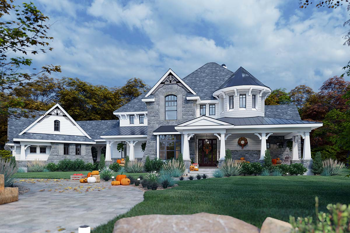 Cottage, Craftsman, European, Tuscan House Plan 65872 with 4 Beds, 4 Baths, 3 Car Garage Elevation