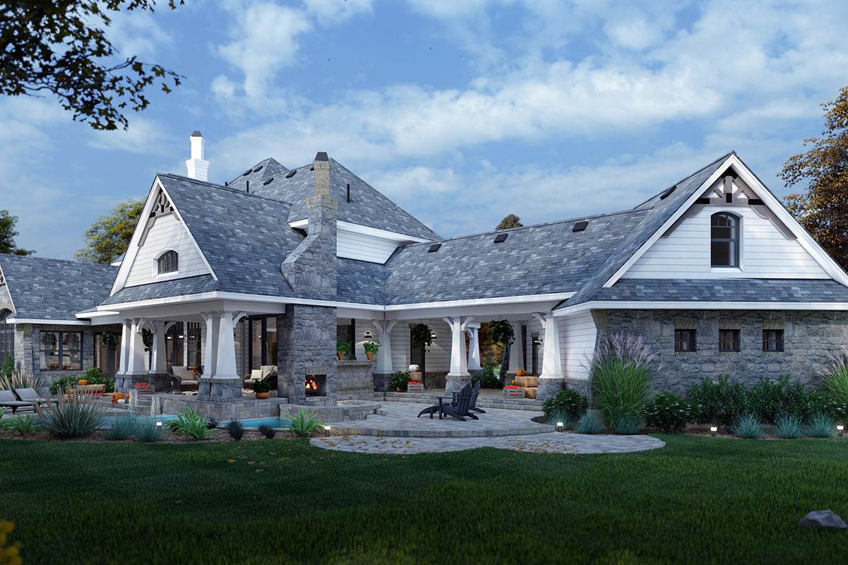 Cottage, Craftsman, European, Tuscan House Plan 65872 with 4 Beds, 4 Baths, 3 Car Garage Rear Elevation