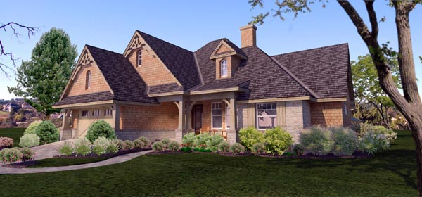 Cottage, Craftsman, Ranch, Tuscan House Plan 65873 with 4 Beds, 2 Baths, 2 Car Garage Picture 1