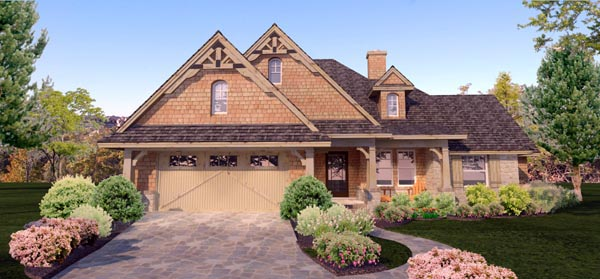 Cottage, Craftsman, Ranch, Tuscan House Plan 65873 with 4 Beds, 2 Baths, 2 Car Garage Picture 4