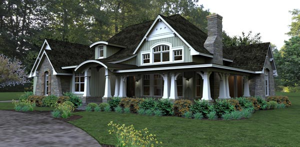 Bungalow, Cottage, Country, Tuscan House Plan 65875 with 3 Beds, 3 Baths, 2 Car Garage Picture 1